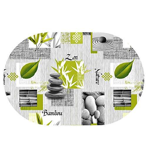 DecoHomeTextil Wachstuchtischdecke Wachstuch Tischdecke Gartentischdecke Rund Oval Bambou Zen Oval 130 x 220 cm abwaschbare Wachstischdecke