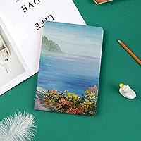新しい ipad pro 11 2018 ケース スリムフィット シンプル 高級品質 手帳型 柔らかな内側 スタンド機能 保護ケース オートスリープ 傷つけ夏の油絵スタイルで家と色とりどりの花海の絵