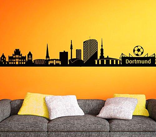 Wandora Wandaufkleber Skyline Dortmund Stadt I schwarz (BxH) 140 x 24 cm I Wandsticker Wohnzimmer Wandtattoo Kinderzimmer Junge Aufkleber Sticker G148
