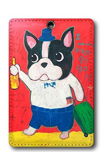 大原そう デザイン パスケース 75cm伸びるリールカラビナ付き 定期入れ OHARA SOU 犬 イヌ フレンチブル ビール beer ICカードケース 定期ケース