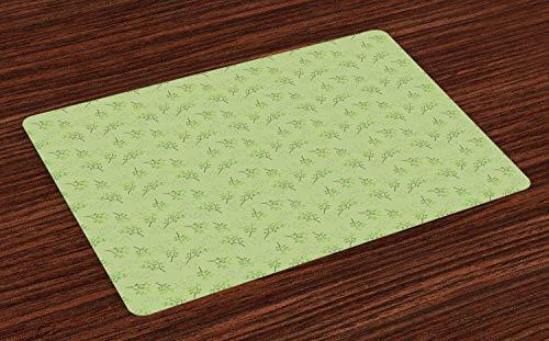 Hokdny Aspen - Juego de 4 manteles individuales de tela lavable para mesa de comedor, tamaño estándar, color verde pistacho