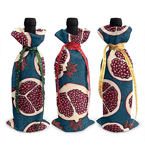 3pcs Christmas Wine Bottle Cover 3d Red Pomegranate Slices Wines Bottles Decoration Bags For Xmas New Year Party Birthday Dinner