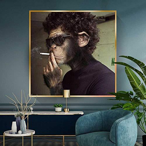 Rauchen Sonnenbrillen AFFE Lustiges Tier Bild Leinwand Wandkunst Poster und Drucke Wandmalerei Raumdekoration Cuadros 60x60cm, kein Rahmen