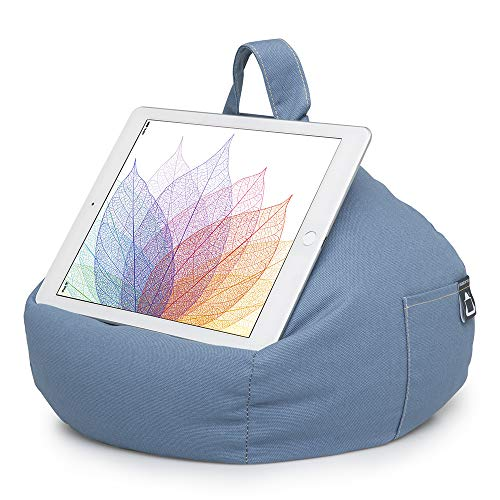 iBeani iPad Pillow & Tablet Cushion Stand - Securely Holds Any Size Tablet, eReader or Book Upto 12.9 inches, Hands Free Comfort at Any Angle on Any Surface - Blue Denim