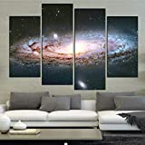 mubgo Posters Prints Home Decor Canvas Living Room Printed Modern 4 Panel Abstract Andromeda Galaxy Pictures Painting Wall Art Poster Modular,40X80X2 40X100X2