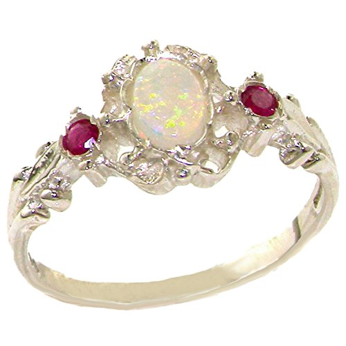 925 Sterling Silver Real Genuine Opal and Ruby Womens Band Ring - Size 7