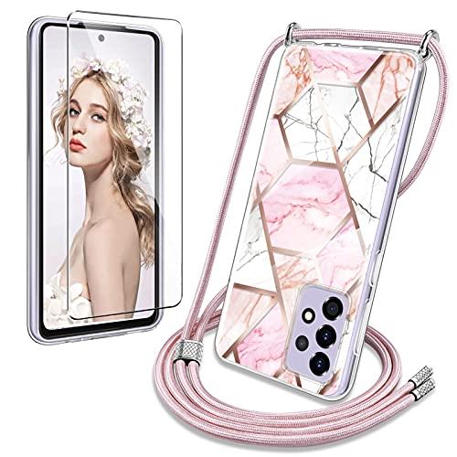 YIRSUR Cadena para teléfono móvil compatible con Samsung Galaxy A52 4G/5G, funda con cristal blindado, mármol, purpurina, collar con cordón extraíble para colgar, funda de silicona con banda