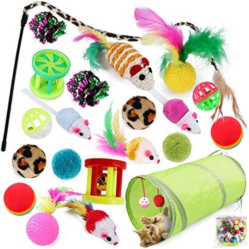McNory 21 Stück katzenspielzeug Set mit Katzentunnel, Bälle, Federspielzeug, Plüschspielzeug, Spielzeugmäuse, Katzen Spielzeug Variety Pack für Kitty, Katze Toys Variety Pack