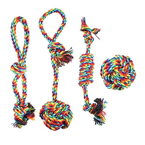 KIRTI Dog Chew Toys Rope - Rope Puppy Chew Toys Washable Cotton Rope Toys Set for Small Dog Puppy Pet(4 Packs/Set)