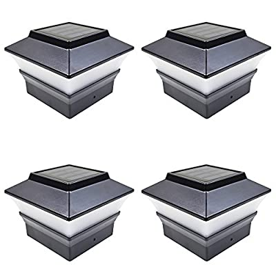 iGlow 4 Pack Copper/Black/Bronze/Silver/White Outdoor Garden 4 x 4 Solar LED Post Deck Cap Square Fence Light