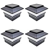 iGlow 4 Pack Black Outdoor Garden 4 x 4 Solar LED Post Deck Cap Square...