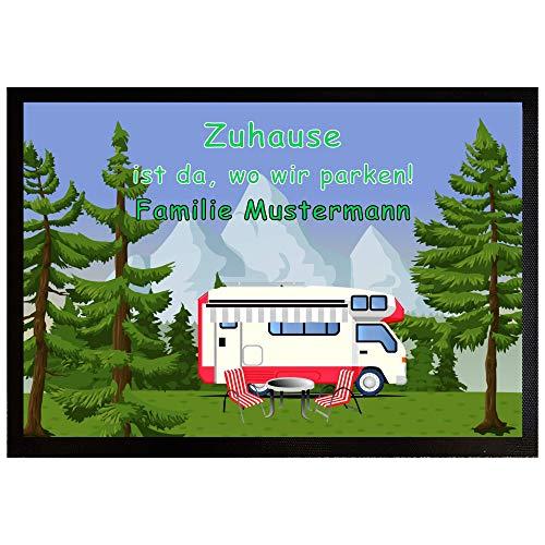 Personalisierte Fußmatte für Camper mit Gummirand 50x35 cm - Zuhause ist da, wo wir parken - Camping - Motiv Wohnmobil