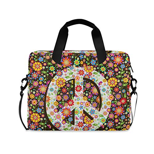 XIXIKO Peace Symbol Flower Field Laptop Bag Expandable Trolley Briefcase Bag for Women Men with Detachable Strap for Work Trip Business Travel iPad MacBook