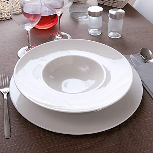 Napoli - Plato llano de porcelana blanca, 27,5 cm de diámetro, 6 unidades