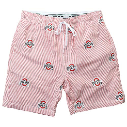 Wes and Willy NCAA Mens Seersucker Beach Shorts (Large, Ohio State Buckeyes)