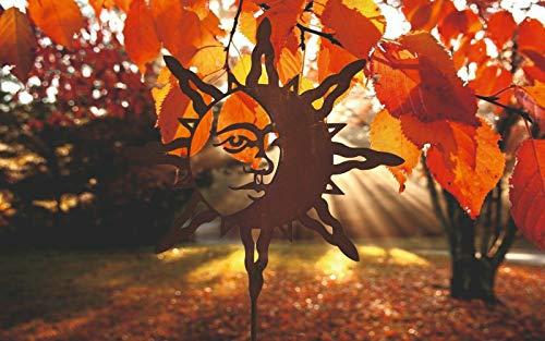 Ferrum Art patina tuinsteker tuin staaf bed steker tuindecoratie bed plug zon maan - afmetingen: staaf 100cm / motief 40cm exclusief handwerk