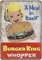 Sylty Burger King Whopper ビンテージカスタムメタルブリキ看板 エイジドルックサイン ホームハウス コーヒー ビール ドリンクバー 8 x 12インチ
