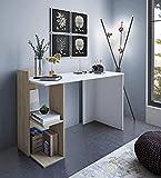 Home Heavenly® - Escritorio Tokio, Mesa Escritorio Minimalista. Mesa de Oficina Moderna Industrial. Mueble multifunción 2 en 1 con estantería. Fabricación Europea. (Blanco y Roble)