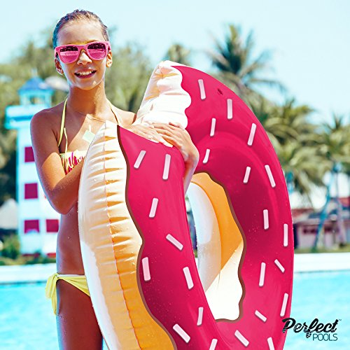 Official 'Perfect Pools' Inflatable Giant Doughnut Rubber Ring | Swimming Pool Donut Float 110cm