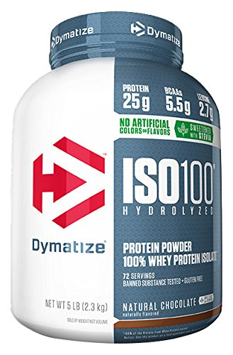 Price comparison product image Dymatize ISO 100 Whey Protein Powder with 25g of Hydrolyzed 100% Whey Isolate,  Gluten Free,  Fast Digesting,  Natural Chocolate,  5 Pound
