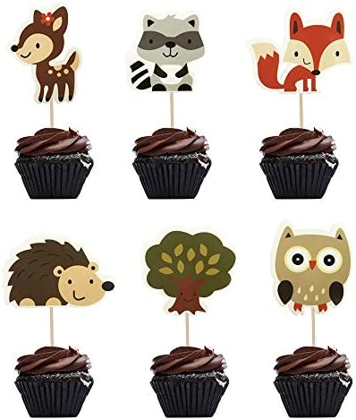 48 Pcs Jungle Animal Cupcake Toppers Woodland Creatures Theme Forest Theme Birthday Party Baby product image
