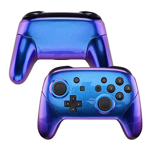 eXtremeRate Cover Custodia Grip Case Guscio Joystick Scocca Ricambio per Nintendo Switch Pro Controller-Controller Non Incluso(Camaleonte Viola Blu)