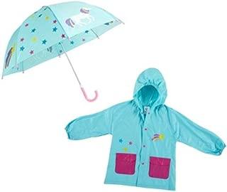 Children's Unicorn Raincoat and Umbrella Set Blue Size 2-4