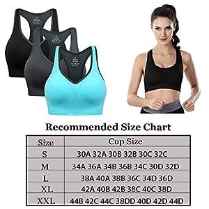 Barfen Women Racerback Sports Bras Padded Seamless High Impact Workout Yoga Gym Activewear Fitness Bra Pack of 3
