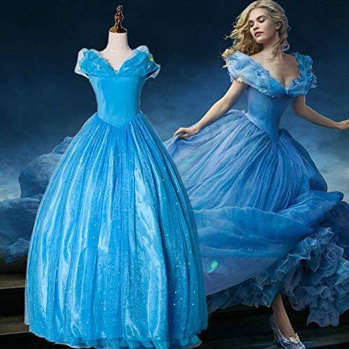 Be-Creative Disfraz de Cenicienta para adultos, color azul, peluca de fiesta, juego de joyas gratis tiara (M 8-10)