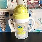 Bonito biberón para bebés recién nacidos, niños, aprenden a alimentar, tazas con asa para beber, taza de entrenamiento de agua con jugo de paja para niños, 300 ml