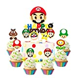 49Pcs Mario Brother Cake Toppers, Party Cake Decorations Happy Birthday Cake Topper and Cardstock, Kids Birthday Decoration Baby Shower Party Supplies