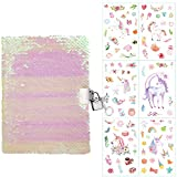 Girl Diary with Lock and Key for Kids, Pink and White Sequin Magic Reversible Sequin Girls Private Notebooks and Journal … …