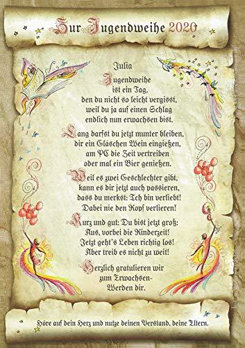 Die Staffelei Geschenk-Urkunde Jugendweihe, Zeichnung mit humorvollem Gedicht, A4 Bild-Präsent zum Erwachsenwerden, persönlich durch Wunschtext (inklusive)