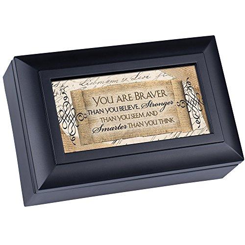 Cottage Garden You are Braver Smarter Matte Black Jewelry Music Box Plays Wonderful World