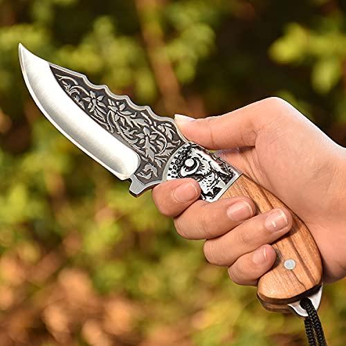 NedFoss Outdoor - Messer & Bushcraft Messer, 8,7cm Klingelange, Fahrtenmesser mit Leder Holster, Jagdmesser Outdoormesser aus eiem stück Stahl gefertigt, mit einzigartigem Muster, Schön und Scharf