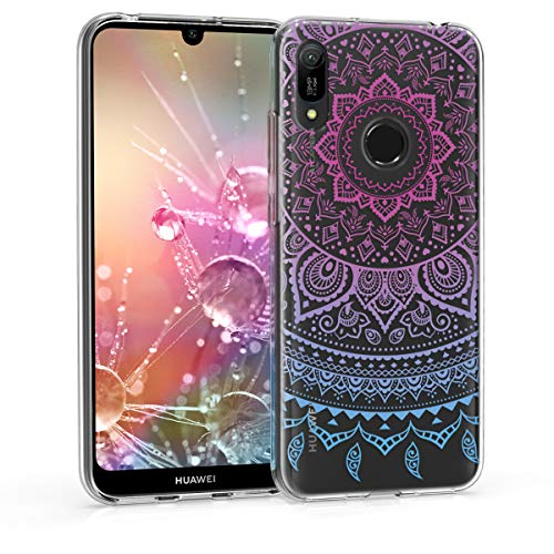 kwmobile Hulle kompatibel mit Huawei Y6 2019 Handyhulle Handy Case Indische Sonne Blau Pink Transparent