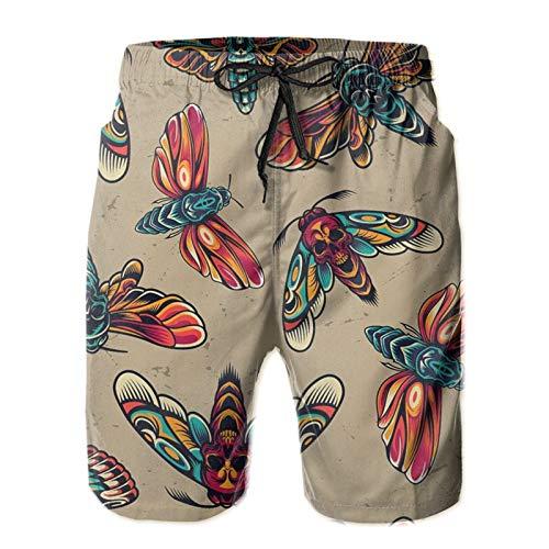 HARLEY BURTON Herren Badeshorts Cool Tattoo Schmetterling Skelett Motte Schnell trocknend Badehose Surf Beach Board Shorts mit verstellbarem Kordelzug Gr. XL, weiß