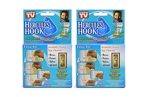 (Buy 1 Get 1 Free) Hercules Hooks Holds up to 150 Lbs As Seen on Tv Set of 10 GJTr