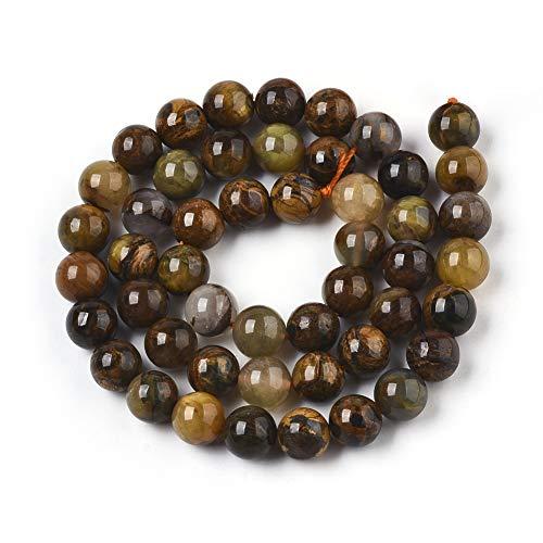Perlas de piedras preciosas naturales amarillas Pietersite para fabricación de joyas, pulseras, collares, perlas redondas (pieterita amarilla, 8 mm)