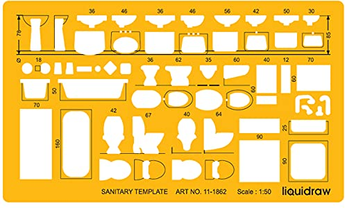 Liquidraw 1862 Maßstab 1:50 Zeichnungsschablone, orange/transparent