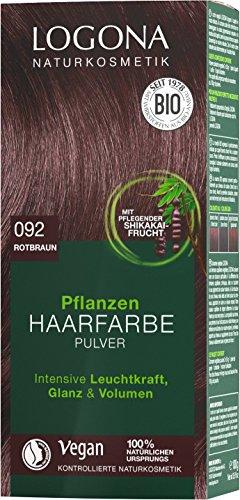 LOGONA Naturkosmetik Pflanzen-Haarfarbe Pulver 092 Rotbraun, Mit Avocadoöl, Vegan & Natürlich, Braune Natur-Haarfarbe mit Henna & Shikakai, Coloration, 100g