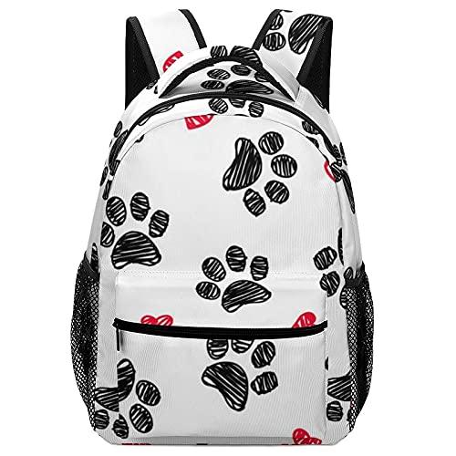 Mochila escolar Pet Colorful Doodle Paw Hearts Dog Pattern Backpack Bookbag Teens Childrens Adjustable School Bag College Students For Book, Clothes