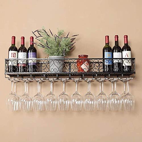 COLiJOL Portabotellas Estante de Vino Estante de Vino Retro Estante de Vino de Hierro Forjado Colgante Gabinete de Vino Colgante/Estante de Copa de Vino Bar Estantes de Pared Almacenamiento,2,Los 6