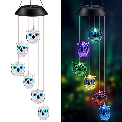 icyant Campanas de Viento Solar, Búho de cristal Lámpara de Campanas de...