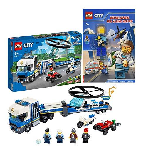 Lego City 60244 - Juego de helicóptero de policía y transporte de Lego City