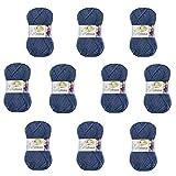 Melissa Hilo Acrílico Ovillo de Lana (115m 100g *10)Premium para DIY Tejer y Ganchillo,Certificado OEKO-TEX Standard 100,agujas talla 5(1/2)-6(1/2),Azul 74,Gruesa,Enviado desde Europa