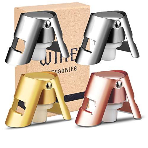 AYADA Sektverschluss Set, Silber & Gold & Roségold Verlängert Sektflaschenverschluß Hochwertiger Edelstahl Sektverschluss Flaschenverschluss Sektstopfen Champagne Stopper Geschenke für Weinliebhaber