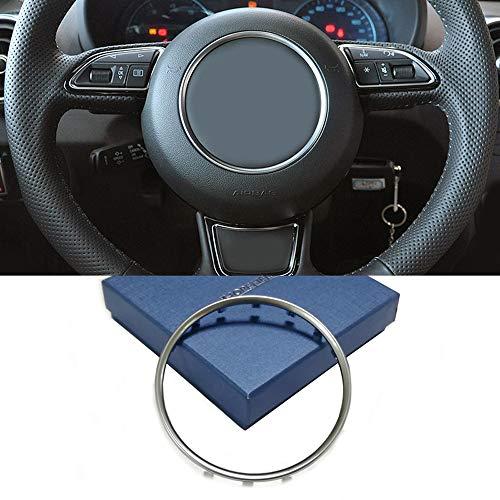 Auto Lenkrad Aufkleber Logo Emblem Trimmen Rahmen Auto Zubehör für A3 S3 8V A4 B9 A6 C7 Q3 Q5 Chrom Silber (Silber Aufkleber)
