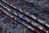 Tessuto al metro- Tessuto Broccato Jacquard Monotono Confezione Tessuto Fai Da Te Fatto A Mano, Blu Reale 0.5m