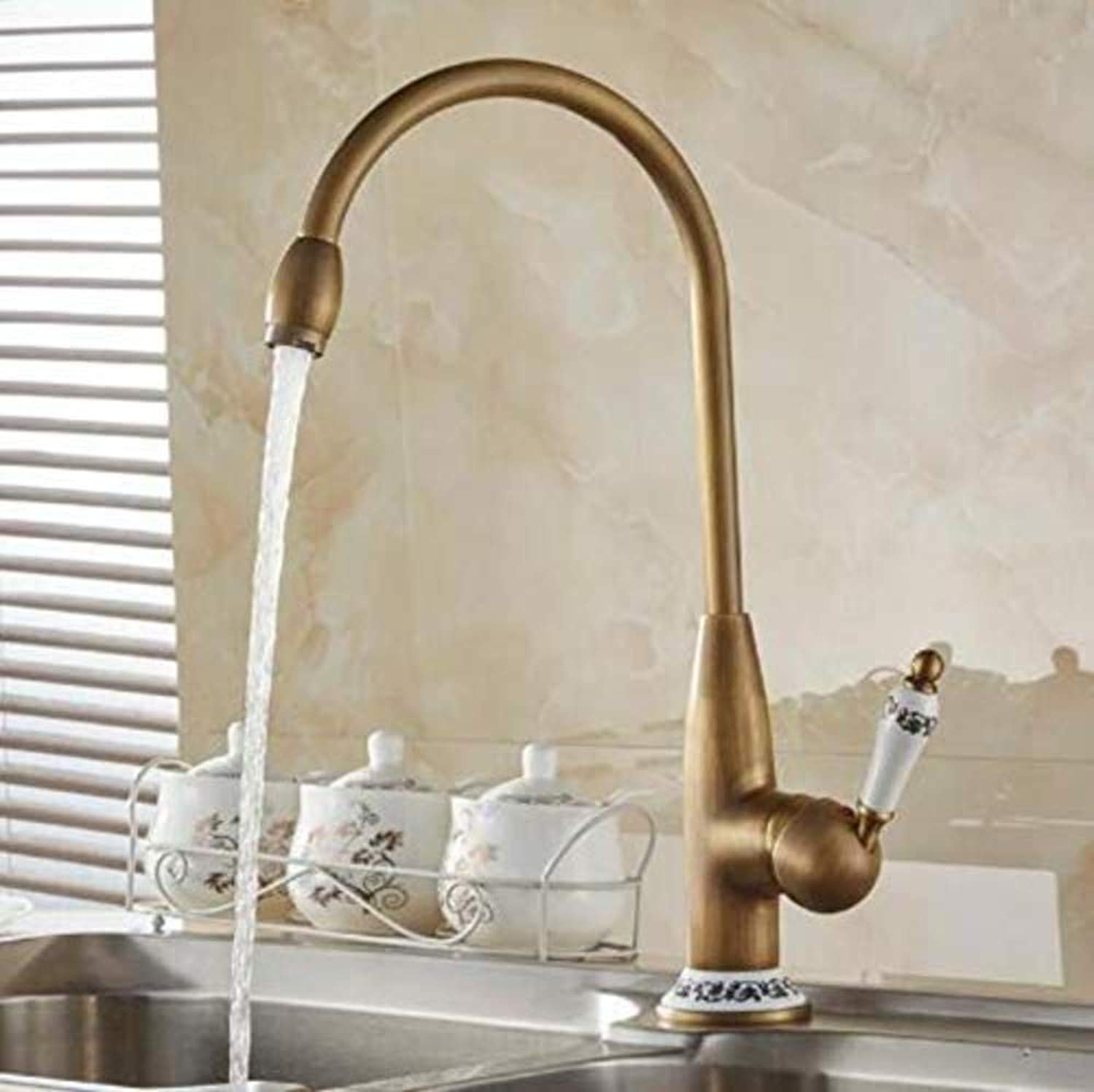 360° redating Faucet Retro Faucetkitchen Mixer Tap with Ceramic Crane Cold and Hot Kitchen Sink Tap